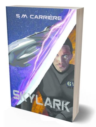 ID, book cover: Two scenes, split by a sabre. One of an alien ship, the other of a man in a grey space armour. Text reads: S.M. Carrière, Skylark