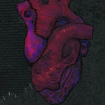 ID: A stitched heart against a black stitched background. Title: We Shall Be Monsters, Edited By Derek Newman-Stille. (With stories by Day Al-Mohomed, Lena NG, Ashley Caranto Morford, Cait Gordon, JF Gerrard, Andrew Wilmot, Evelyn Deshane, Simon Turner, Kaitlin Tremblay, Lisa Carreiro, Eric Choi & Joseph McGuinty, Jennifer Lee Rossman, Randall Arnold, Alex Acks, K.C. Griffant, Halli Lilburn, Kev Harrison, Corey Redekop, Ariana Verbree, Max D. Staton, Victoria Martin, Priya Sridhar, Liam Hogan, Joshua Bartolome