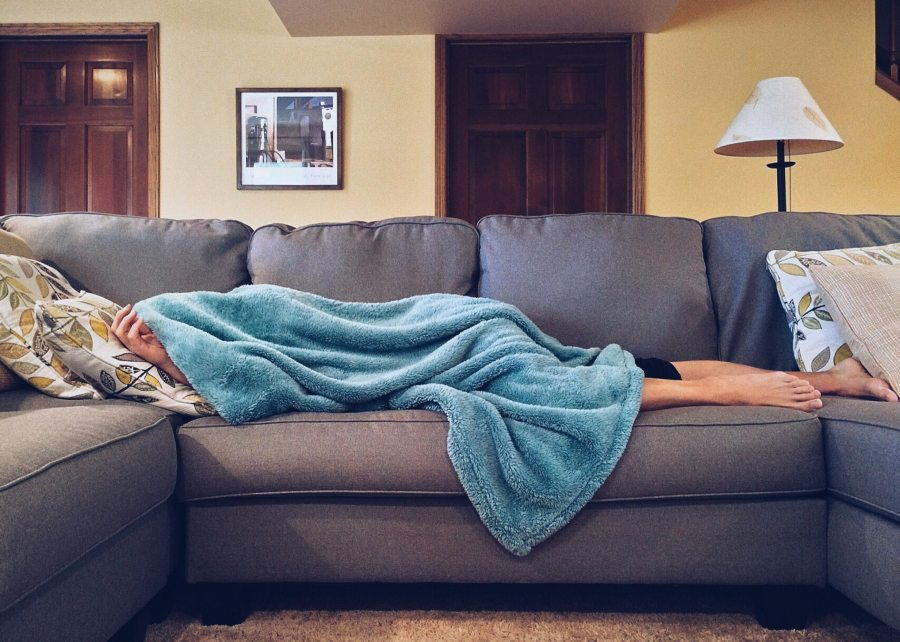 ID: Woman on comfy grey couch, buried under a blue furry blankie.