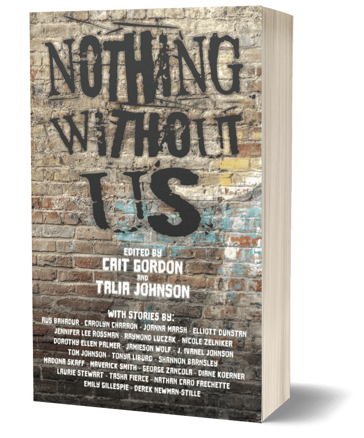 """ID: Graffiti wall with """"Nothing Without Us"""" spray painted in black. The list of editors and authors is included in the text of this page."""