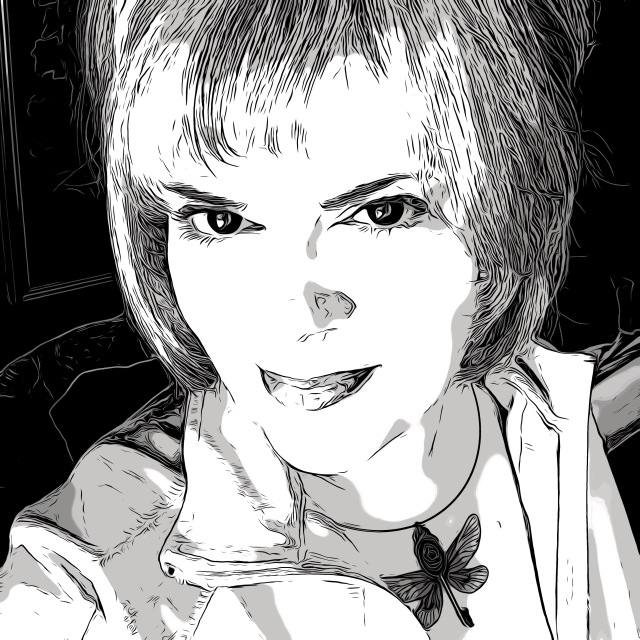 Cait Gordon, in a black and white digital sketch