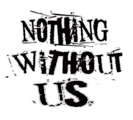 Logo text that reads: Nothing Without Us in black against a white background.