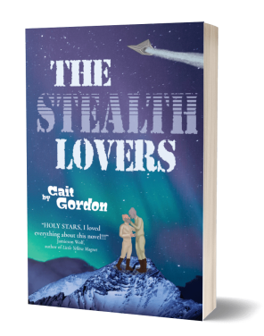 wo characters in space flight suits about to engage in a kiss while standing on a snowy mountain top. Overhead flies a space fighter.