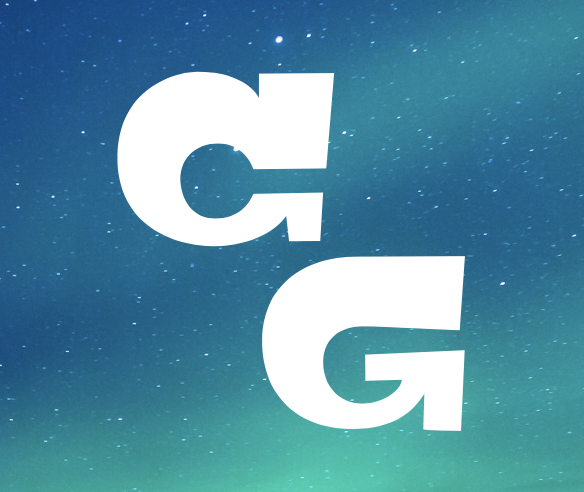 Night sky background, the initials C and G in white.