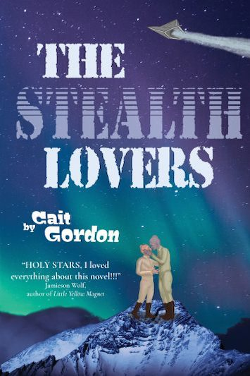 Cover of The Stealth Lovers. Two men in flight suits, one with coral scales and the other mauve, are about to engage in a kiss while standing on a snowy mountaintop under an aurora-filled sky. Overhead flies a stealth fighter.