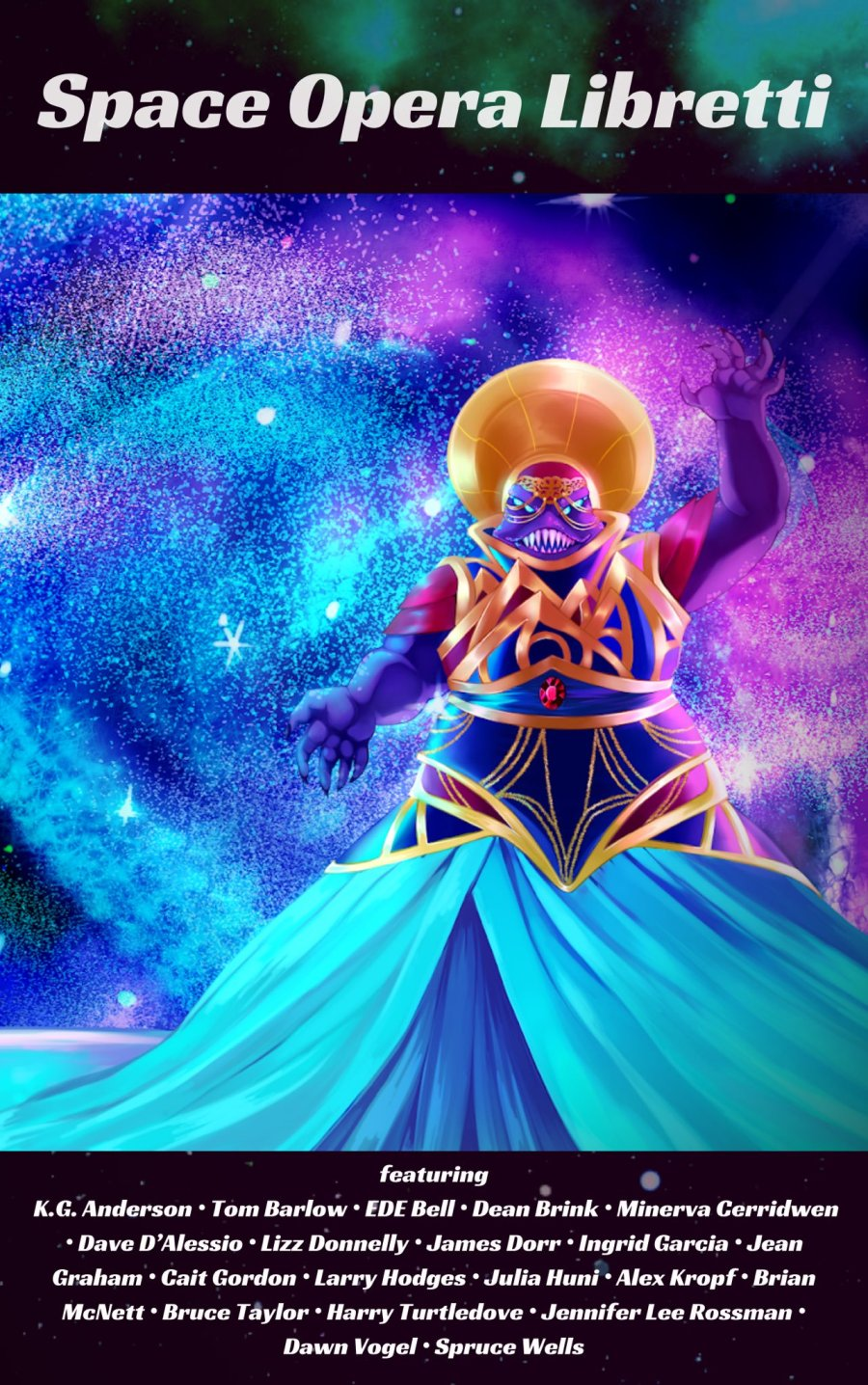 A purple alien dressed in a lavish blue, purple, and gold gown wears a golden headpiece and looks about to deliver the final note through those sharp teeth!
