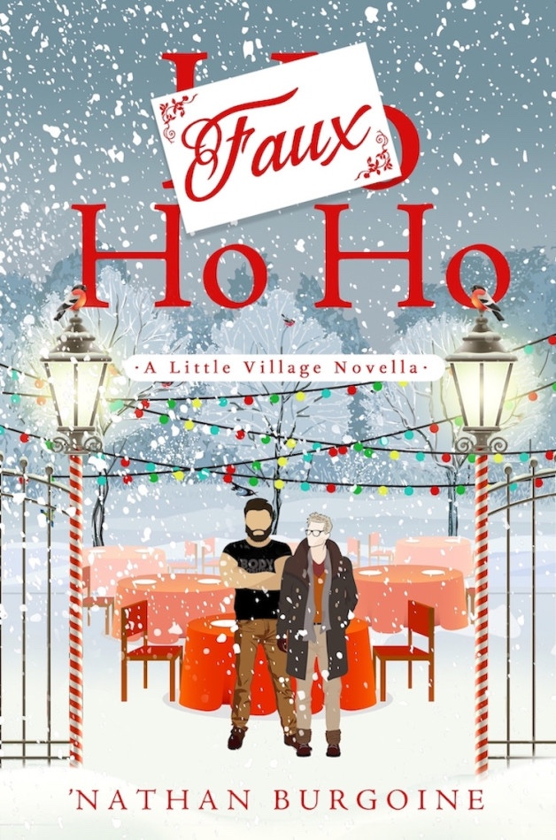 Book cover for Faux Ho Ho. A winter scene on a snowy night. Two men stand in front of several tables draped in festive red cloth. On either side of them are street lamps wrapped in red and white ribbon, like a candy cane. The posts of the lamps are attached to black wrought iron gates. There are Christmas lights strung high over the tables.