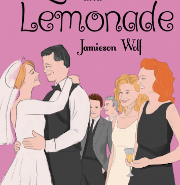 Book cover of Love and Lemonade. A pink background. An older couple dances on their wedding day as the guests smile on.