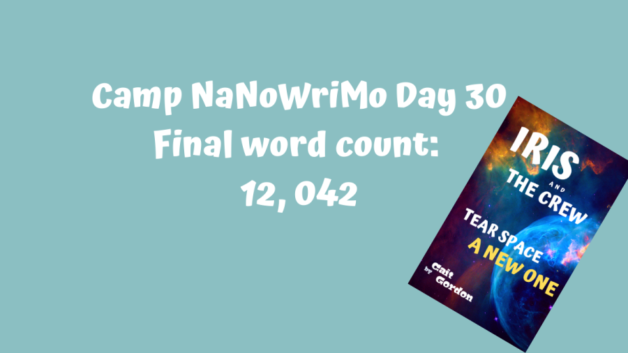 ID: Mock cover image of Iris and the Crew Tear Space a New One. Text reads: Camp NaNoWriMo Day 30, Final word count: 12, 042