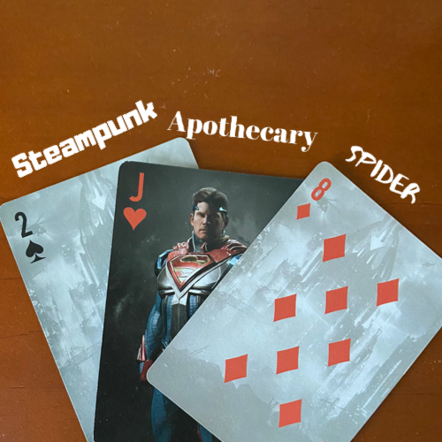 2 of spades (Steampunk), Jack of hearts (Apothecary) and 8 of diamonds (Spider)