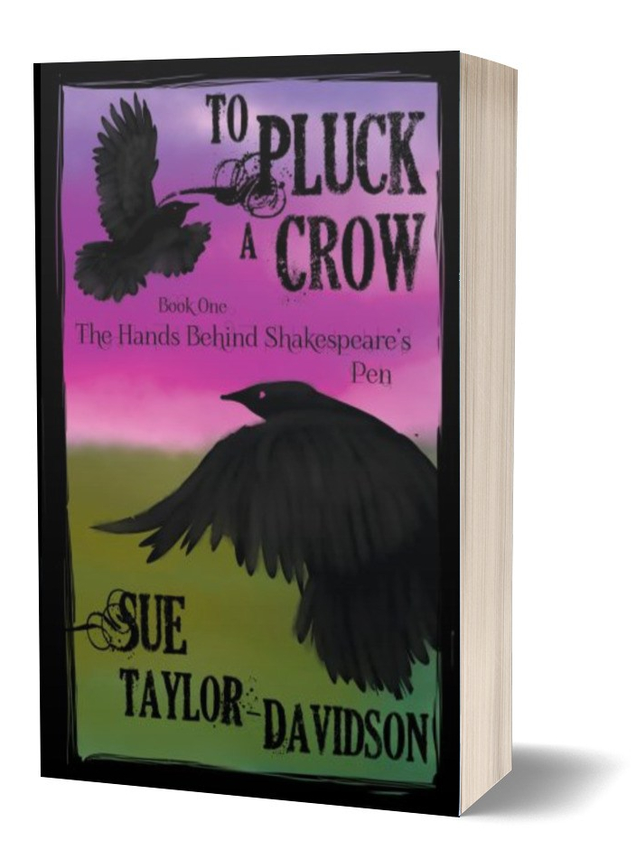 ID: Book cover of To Pluck a Crow. Magenta sky over green grass. Two crows flying, one far away, another up close.