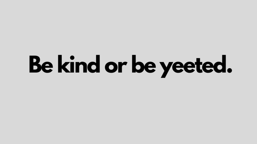 Grey background with black text: Be kind or be yeeted.