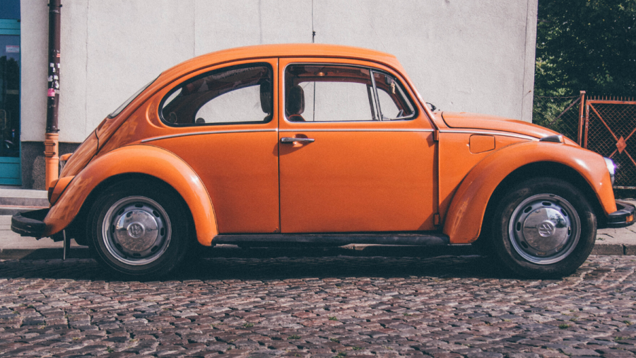 ID: An orange Volkswagon Bug