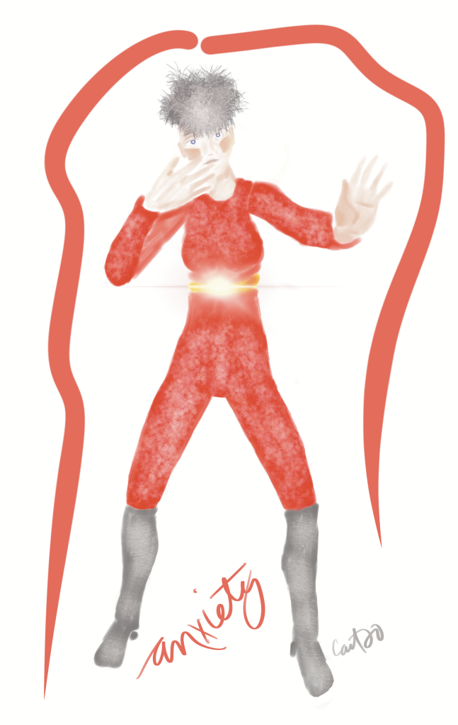 A woman with short grey frizzy hair is dressed in a red leotard with a yellow belt that is sparking at the diaphram. Her right hand is on her mouth and her left hand is indicating me to   stop. Her boots look like grey concrete.