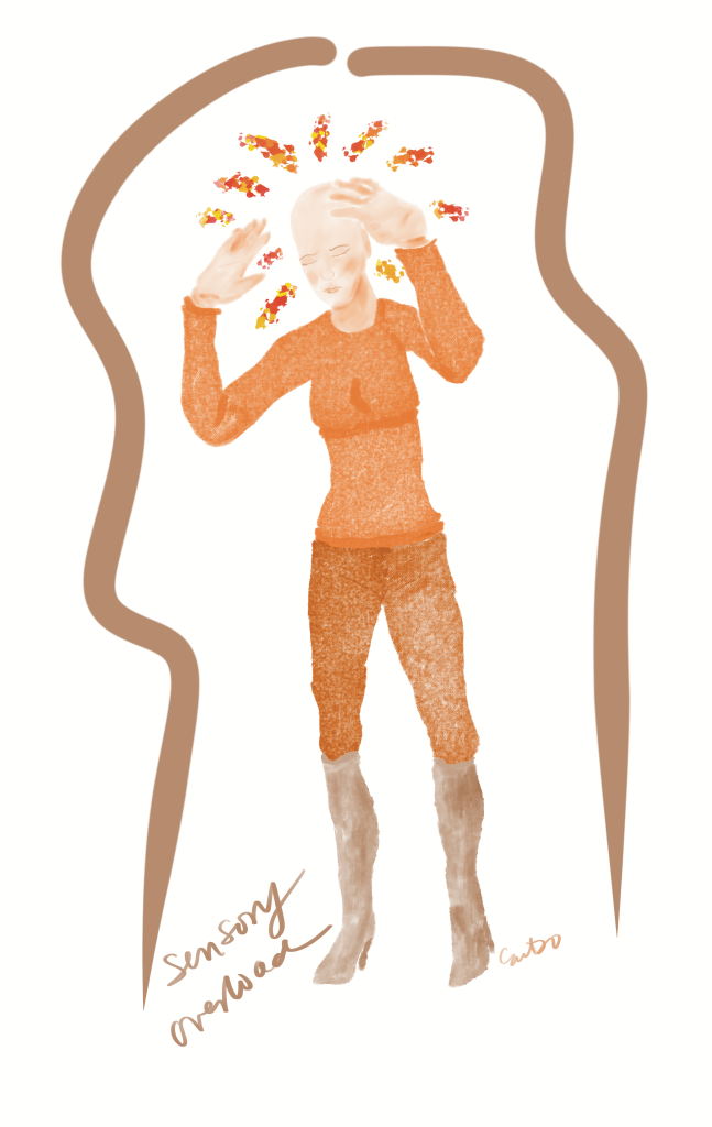 A bald white woman dressed in orange and ochre has firey sparks  emanating from her head. Her hands are reaching for her scalp.