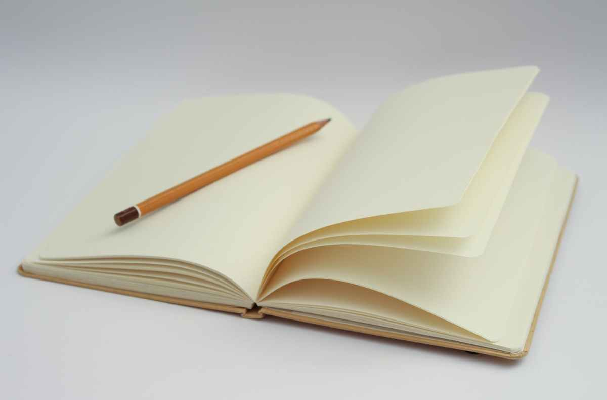 ID: An open notebook with blank cream pages, and a pencil rests on one pagestart