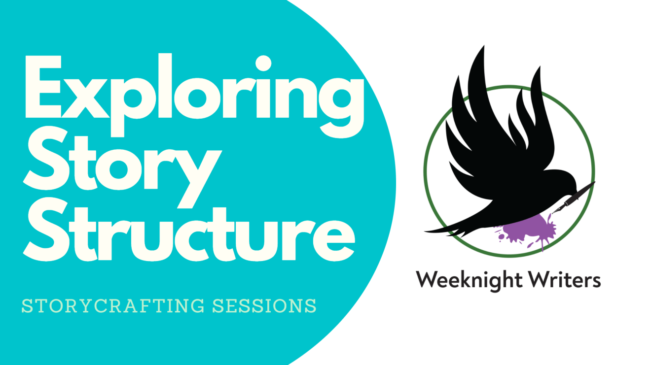 Con banner: A rounded teal shape with white text: Exploring Story Structure, and green text: Storycrafting Sessions. The Weeknight Writers logo is beside it: A green open circle with a black bird holding a black fountain pen and purple ink splattering out of it.