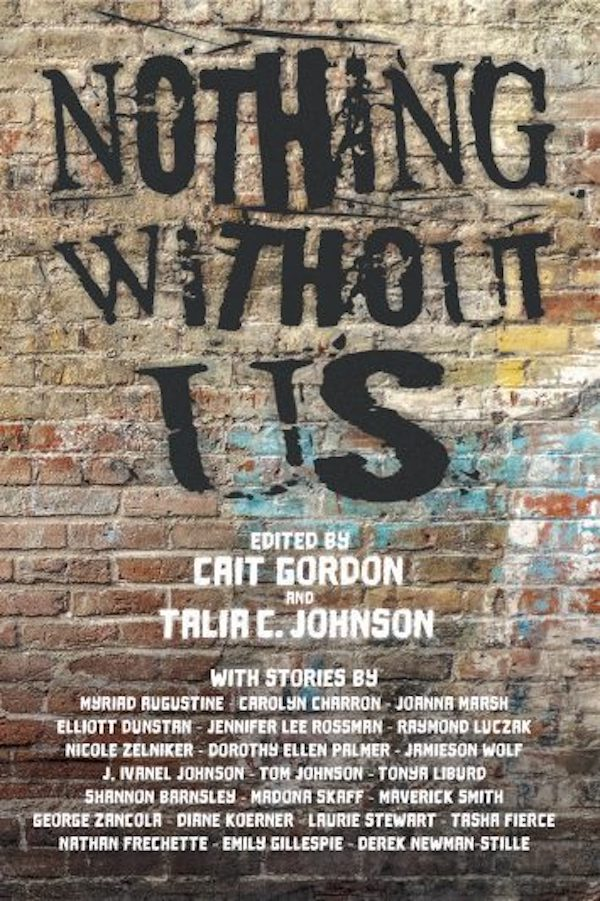 """ID, book cover: Graffiti wall with """"Nothing Without Us"""" spray painted in black. The list of editors and authors is included in the text of this page."""